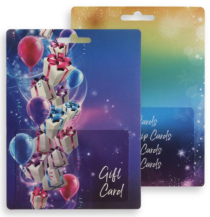 High quality printed card holders for plastic gift cards.