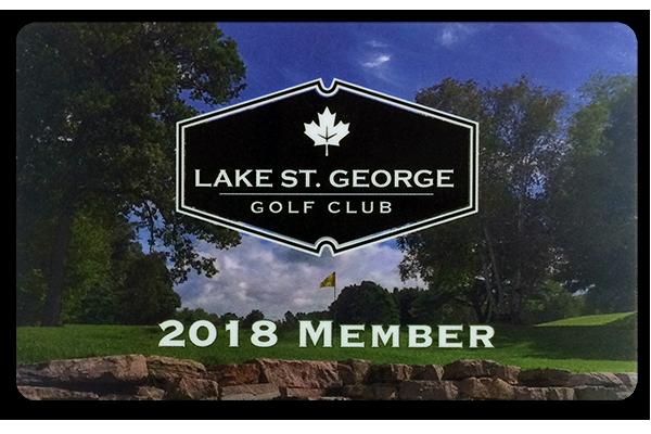 Lake St. George Golf Club printed plastic cards.