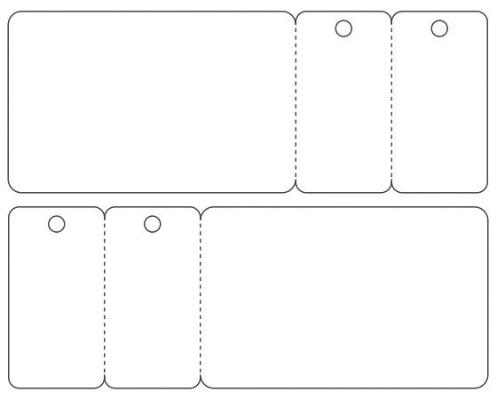 Template for printing CR80 Plastic Card with two keytags